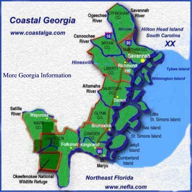 Coastal Ga CoastalGa Georgia - Map of georgia coast